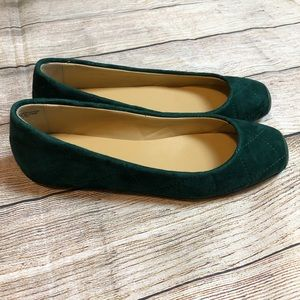 NEW Talbots Green Suede Quilted Addison Flats 7.5